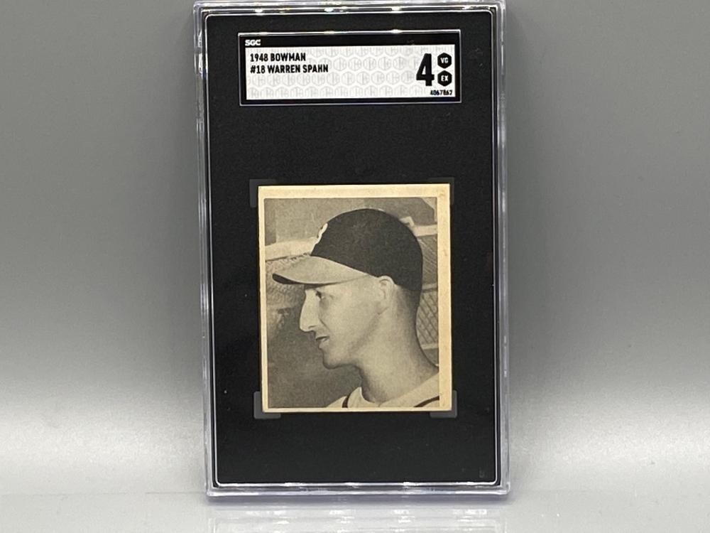 1948 Bowman Warren Spahn #18 SGC 4 Rookie HOF