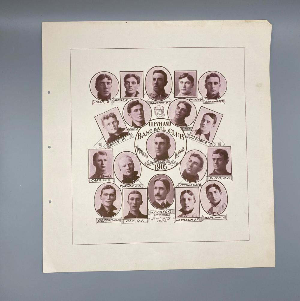 1906 W601 Team Composite Cleveland Baseball Team American League - Lajoie, Joss Etc.! - Ultra Rare