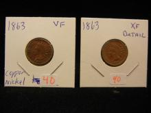 1863 Indian Head cent.  Extremely Fine detail.  Copper Nickel Civil War Issue.