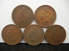(5) 1909 Indian Head Cents