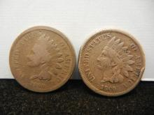 (2) 1860 CN Indian Head Cents