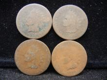 (4) 1868 Indian Head Cents