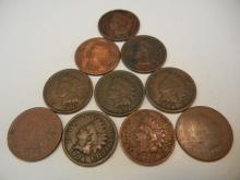 (10) Indian Head Cents Mixed Dates