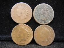 (4) 1864 Indian Head Cents