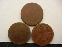 (3) 1875 Indian Head Cents