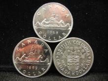 1968, 1969 & 1971 Canadian Dollars High Grade