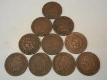 (5) 1880's & (5) 1890's Indian Head Cents Mixed Dates