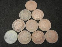 (10) 1890's Indian Head Cents Mixed Dates