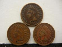 1887, 1898, & 1906 Indian Head Cents