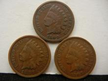 1890, 1897, & 1907 Indian Head Cents