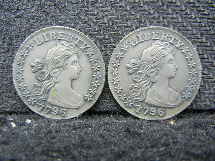 TWO 1796 HALF DIME RESTRIKES BY THE GALLERY MINT MUSEUM.  THESE SELL FOR AROUND $35 EACH ON EBAY