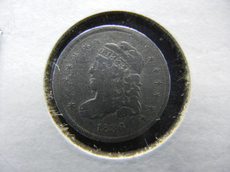 1838 BUST HALF DIME WITH FULL RIMS AND FULL LIBERTY