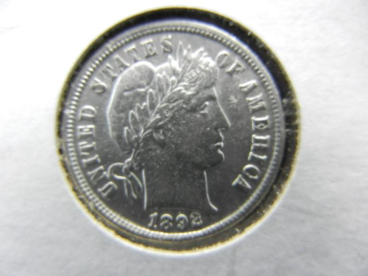 1892 BARBER DIME WITH FULL LIBERTY.  THIS IS A GREAT FIRST YEAR COIN