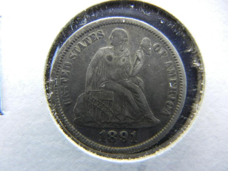 1891 SEATED LIBERTY DIME WITH FULL RIMS AND FULL LIBERTY VISIBLE