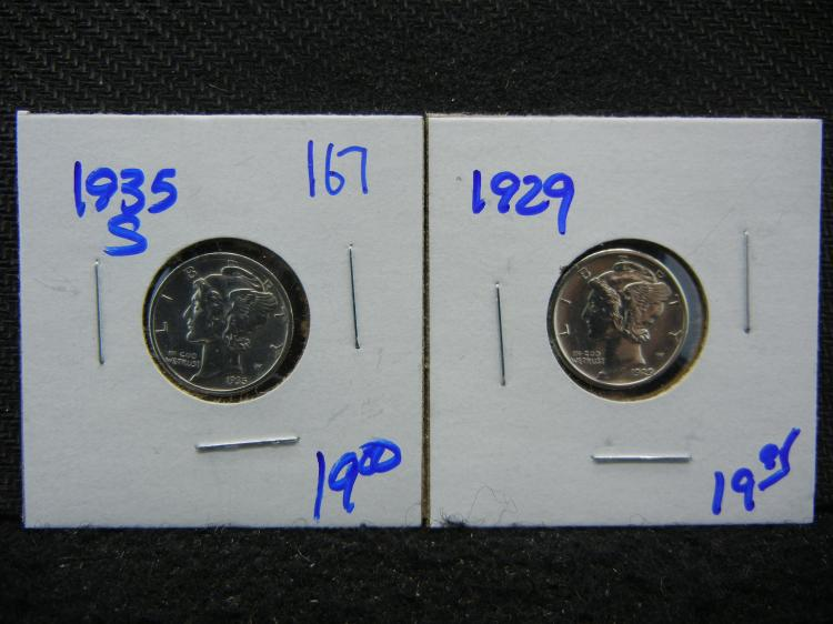 1929 AND 1935-S MERCURY DIMES