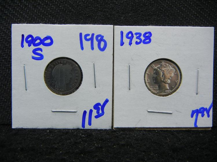 1938 MERCURY DIME AND 1900-S BARBER DIME
