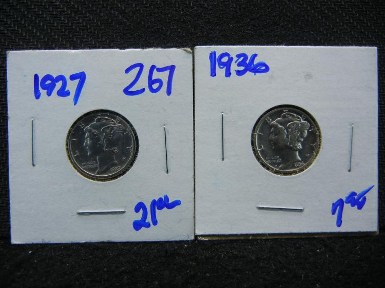 1927 AND 1936 MERCURY DIMES