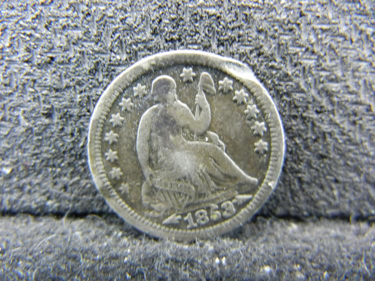 1853 Seated Liberty Half Dime - Bent