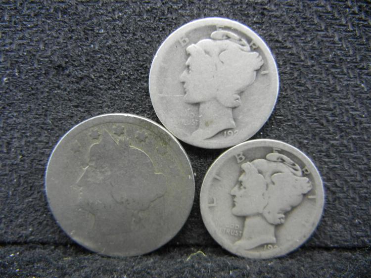 2) 192? Mercury Dimes & No Date V Nickel