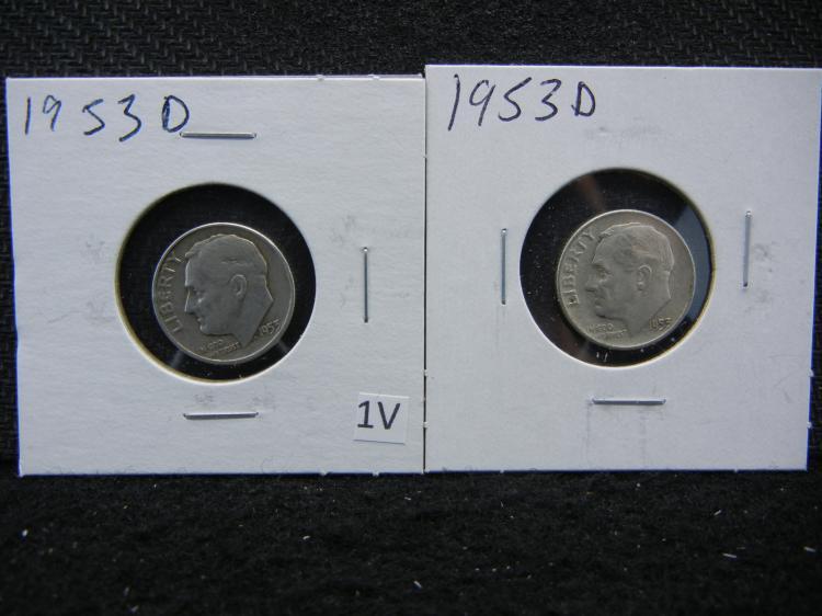 2) 1953-D Roosevelt Dimes - 90% Silver