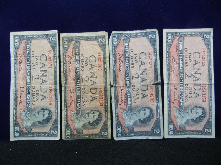 (4) 1954 Canadian $2 Bank Notes - 1 is Ripped & Taped