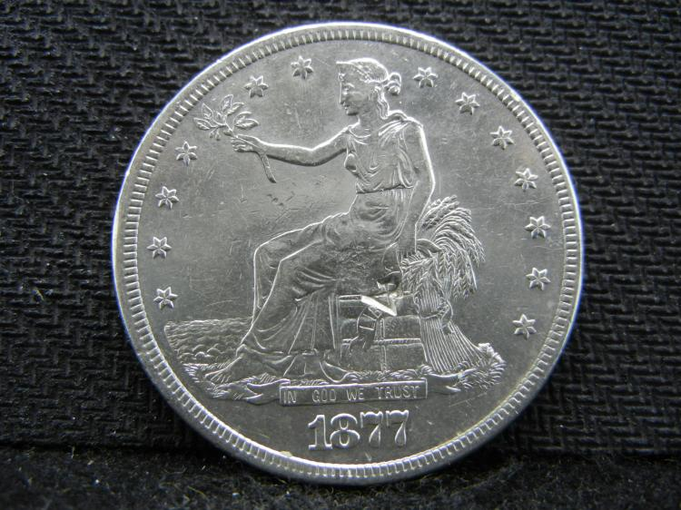 1877-S Seated Liberty 90% Silver Trade Dollar - Counter stamped on Front & Back of the Coin