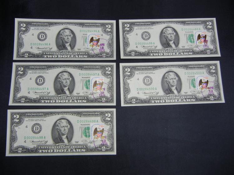 5 Series 1976 $2 Federal Reserve Notes w/Stamps in Sequential Order