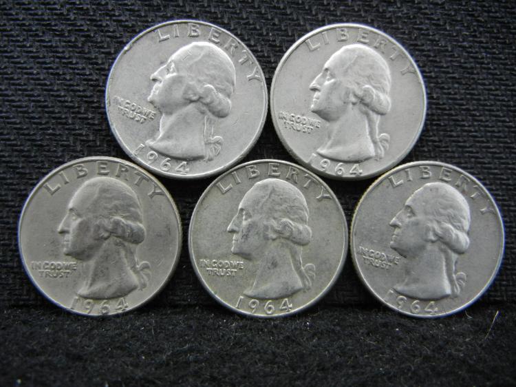 (5) 1964 Washington Quarters - 90% Silver