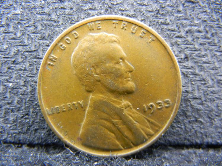 1933 US (Full Wheat Bands, High Grade, 14 Million Minted), Copper Penny!