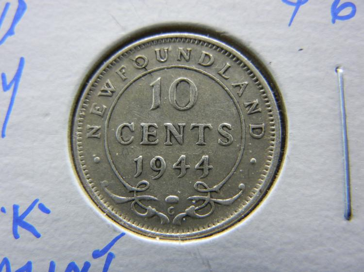 1944-C Newfoundland 10 Cents - 151k Minted - 92.5% Silver