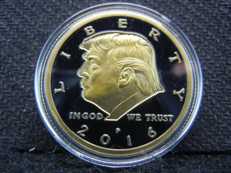 Donald J. Trump, 45th President, Gold Enhanced, Proof, Beautiful Mirror, Encapsulated For Future Preservation (Not Legal Tender)