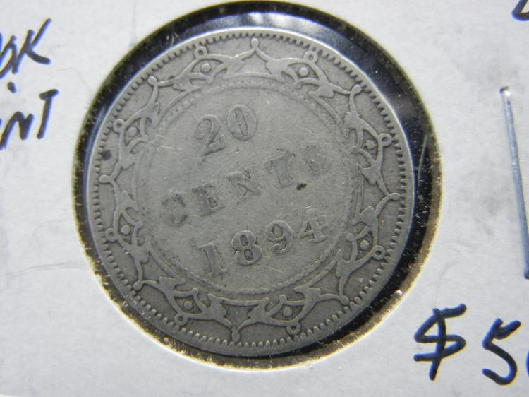 1894 Newfoundland 20 Cents - 100k Minted - 92.5% Silver