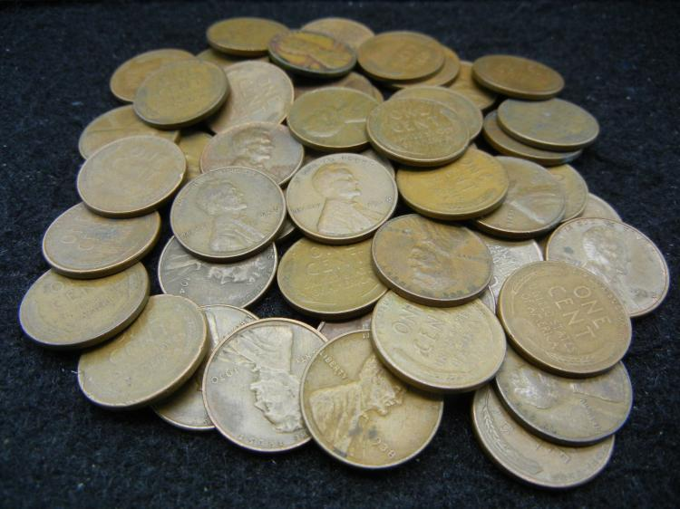 50 Mixed Date Lincoln Wheat Cents
