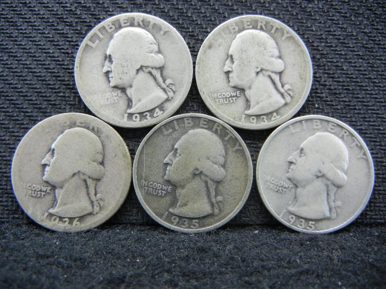 (2) 1934, 1935-P & D, & 1936 Washington Quarters - 90% Silver
