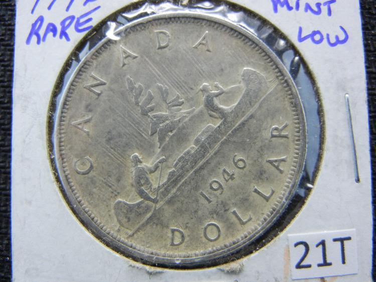 1946 Canadian Dollar - RARE Key Date - 80% Silver