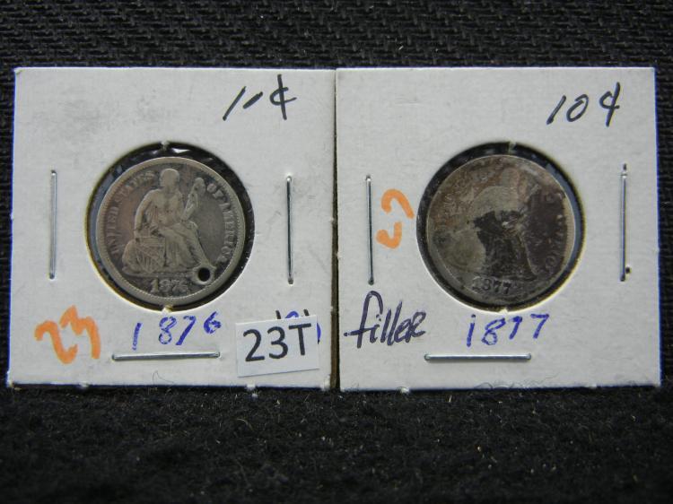 1876 Holed & 1877 Damaged Seated Liberty Dimes