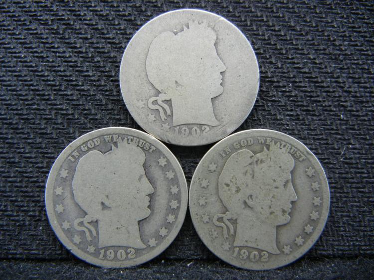(3) 1902 Barber Quarters - 90% Silver