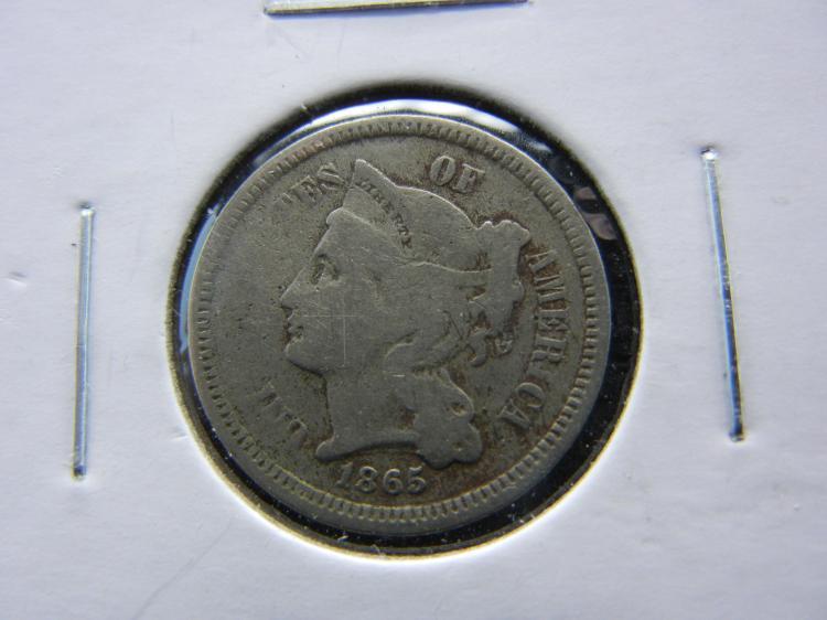 1865 U.S. Nickel 3 Cent Piece