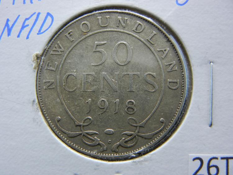 1918-C Newfoundland 50 Cents - 92.5% Silver