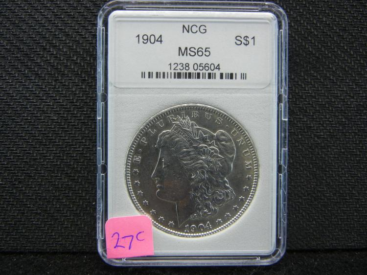 1904 Morgan Silver Dollar, MS-65 NCG, (CHECK THE RED BOOK OUT ON THIS GRADE)! (Only 2.8 MILL EVER Minted), Beautiful Coin, Rare At This Grade!