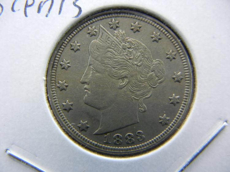 1883 no cents V Nickel. Almost UNC.