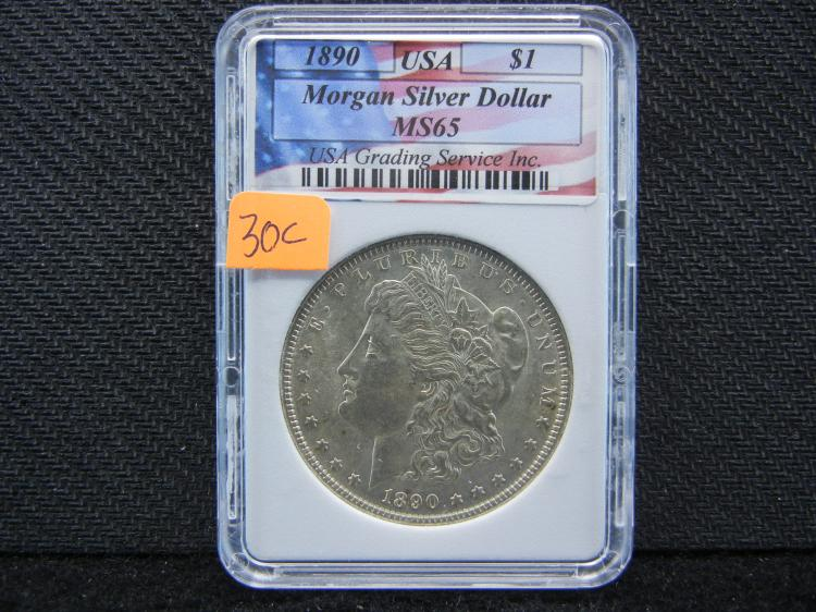 1890 Morgan Silver Dollar, MS65 USA, (Check This Grade Out On NGC Website)! ONLY 16.8 Mill Minted, Beautiful Coin, Rare At This Grade!