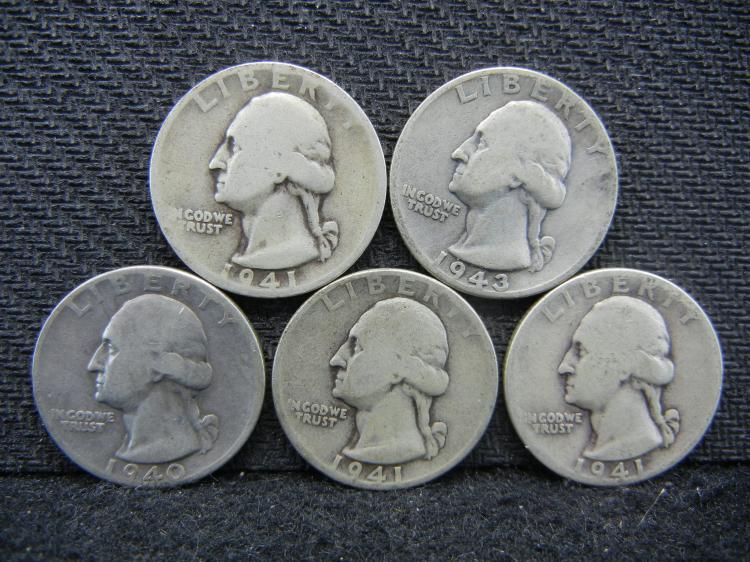 1940, (2) 1941, 1941-S, & 1943 Washington Quarters - 90% Silver