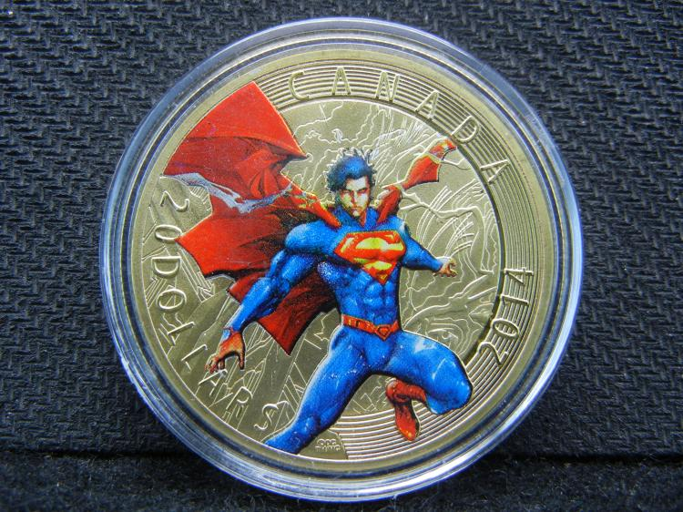 (SUPERMAN), Gold Enhanced, Beautiful Mirror/Proof, Encapsulated For Future Preservation, Great Gift!