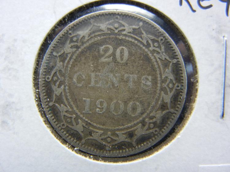 1900 Newfoundland 20 Cents - Key Date - 92.5% Silver