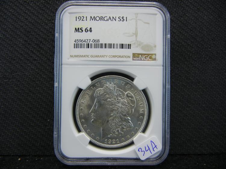 1921 Morgan Dollar. Graded by PCGS (Top Graders) as MS64.
