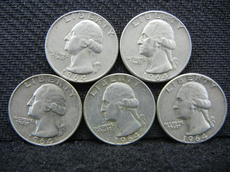 (5) 1964 Washington Quarters - 90% Silver