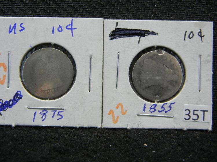 1855 w/Arrows & 1875 Seated Liberty Dimes