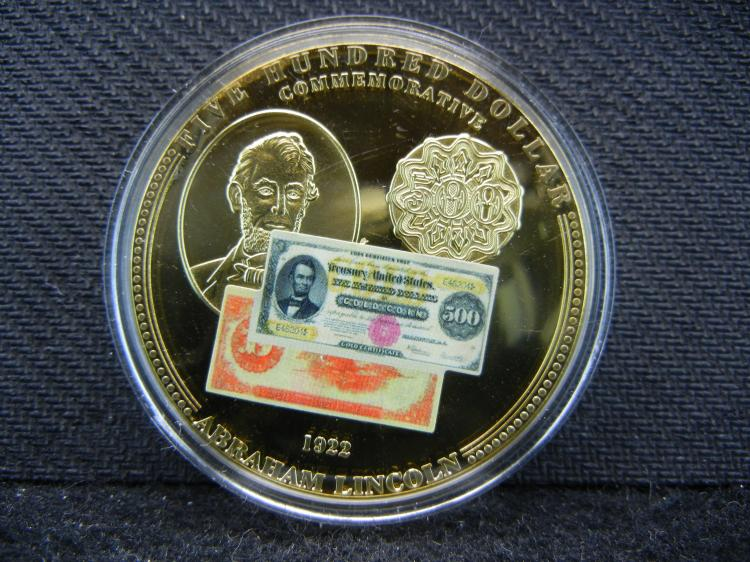 Rare $500 Gold Note Goldish Proof Medal. Certified Genuine.