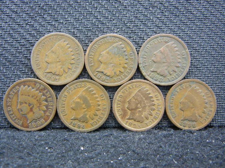 7 Mixed Date Indian Head Cents